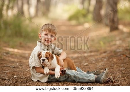 Beautiful Baby Boy With An English Bulldog Puppy, Hugging, Playing, Smiling. Place For The Inscripti