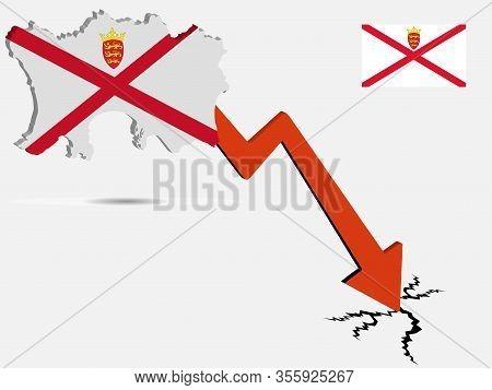 Bailiwick Of Jersey Economic Crisis Vector Illustration Eps 10.