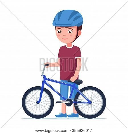 Boy Stands With A Bmx Bike. Vector Illustration Cartoon Kid In A Helmet Standing Next To A Small Chi