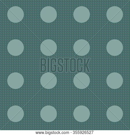 Teal Polka Dot Background With Cool Texture In Between The Round Circles.  Teal Pattern In 12x12 Gra