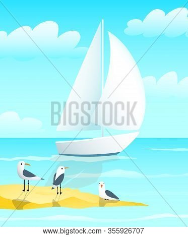 Naval Blue Nautical Colored Sailing Yacht Boat Design With Sea Gulls And Shoreside Chill And Salty N