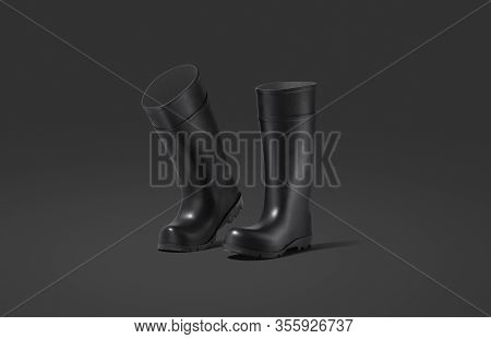 Blank Black Rubber Wellington Boots Mockup, Dark Background, 3d Rendering. Empty Rubber Or Silicone