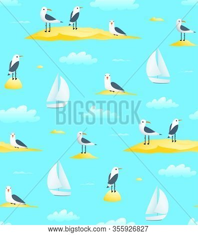Naval Sailing Sail Boat Seamless Pattern With Sailboat And Seagulls Seascape Fabric Or Paper Print D