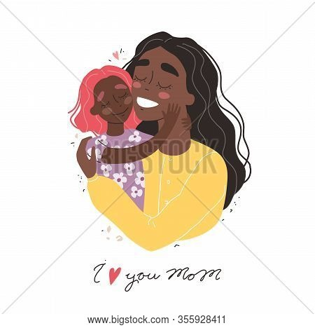 Beautiful Young Black African American Woman And Her Charming Little Daughter. Girl Hugs Mom And Smi