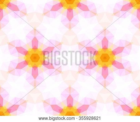 Seamless Pattern Of Geometric Shapes In A Kaleidoscope Style.