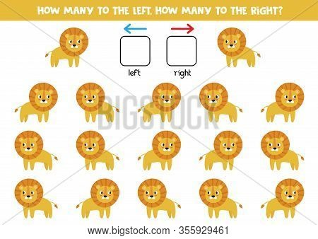 How Many Lions Go To The Left And How Many To The Right. Counting Game For Kids.