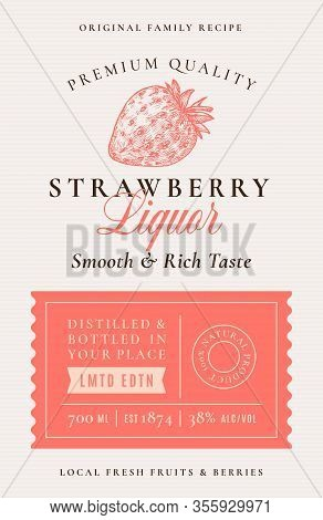 Family Recipe Strawberry Liquor Acohol Label. Abstract Vector Packaging Design Layout. Modern Typogr