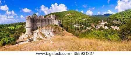 Medieval castles of Italy - Castello di Rocchettine and village Torri in Sabina. Rieti province