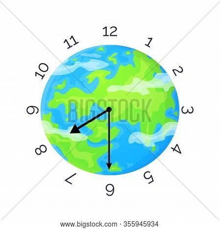 Earth Day Concept. Planet With Clock Face And Clock Hands. Stock Vector Illustration Isolated On Whi