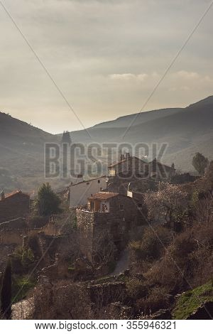 Vertical View Of The Village Of Patones De Arriba In Madrid, Spain Cloudy Day. Travel Concept.