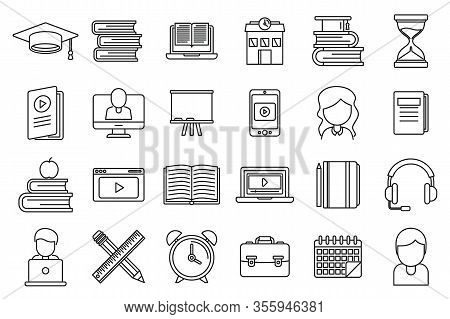 Tutor Teacher Icons Set. Outline Set Of Tutor Teacher Vector Icons For Web Design Isolated On White