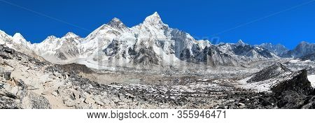 Panoramic View Of Himalayas Mountains, Mount Everest With Beautiful Blue Sky And Khumbu Glacier - Wa
