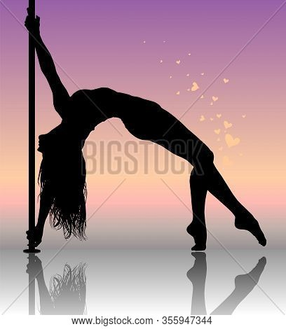 Flexible Dancing Girl In Passionate Dance. Vector Illustration.