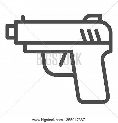 Pistol Line Icon. Firearm Or Handgun Weapon, Gangster Gun Symbol, Outline Style Pictogram On White B