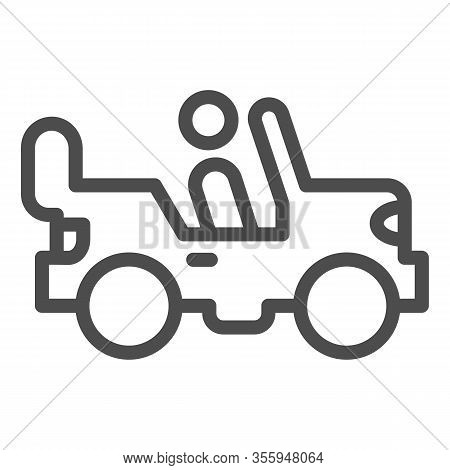 Army Vehicle Line Icon. Offroad Rover With Person, Car And Soldier Symbol, Outline Style Pictogram O