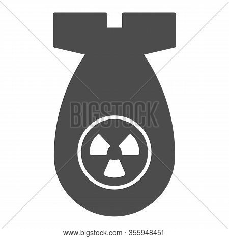 Atomic Bomb Solid Icon. Nuclear Ammunition, Air Rocket Symbol, Glyph Style Pictogram On White Backgr