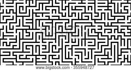 Maze Seamless Pattern. Abstract Labyrinth Design Texture For Print. Vector Illustration