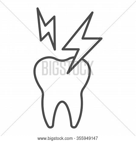 Hyper Sensitive Teeth Thin Line Icon. Sick Tooth And Lightning Symbol, Outline Style Pictogram On Wh