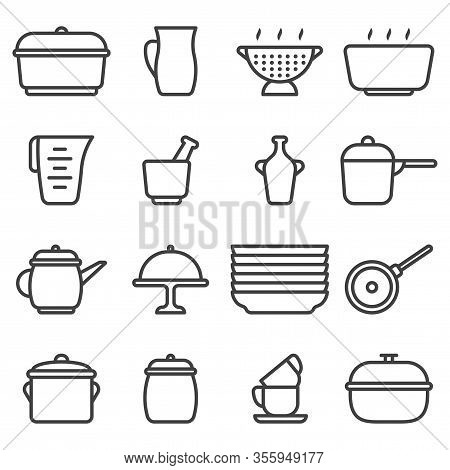Kitchen Utensil Icons Set. Contains Various Options For Ceramic Dishes. Linear Minimalist Design. Is