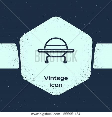 Grunge Line Ufo Flying Spaceship Icon Isolated On Blue Background. Flying Saucer. Alien Space Ship.