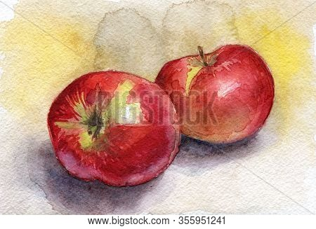 Watercolor Red Apples Fruit Isolated On White Background