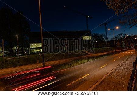 Campus Brugg By Night. Campus, University, Street, Night, Road Marking, Switzerland, Brugg, Windisch