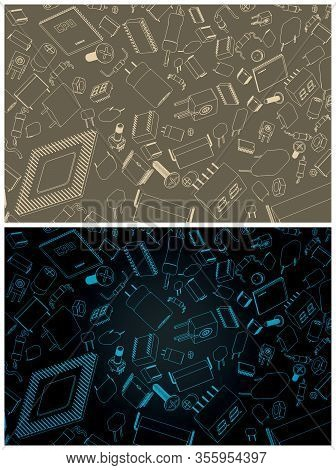 Electronic Components And Circuitry Illustrations