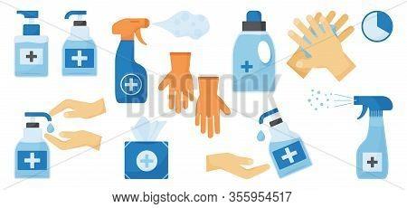 Disinfection. Hand Hygiene. Set Of Hand Sanitizer Bottles, Washing Gel, Spray, Wet Wipes, Liquid Soa