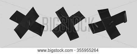 Black Duct Tape Cross Set. Realistic Black Adhesive Tape Cross For Fixing Isolated On Transparent Ba