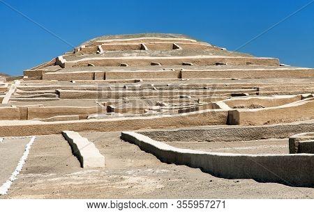 Nazca Pyramid At Cahuachi Archeological Site In The Nazca Desert Of Peru