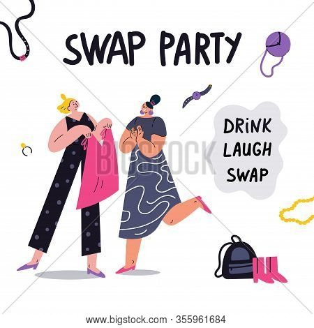 Young Social And Eco Responsible Girls At Fashion Swap Party.swap Party Invitation Template.idea Of