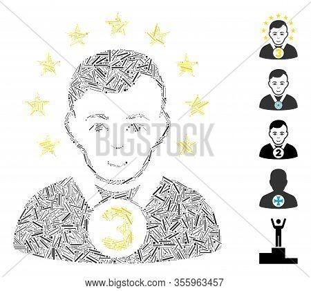 Line Mosaic Based On 3rd Prizer Sportsman Icon. Mosaic Vector 3rd Prizer Sportsman Is Created With R