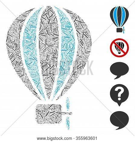 Dash Mosaic Based On Aerostat Balloon Icon. Mosaic Vector Aerostat Balloon Is Designed With Random H