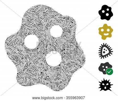 Line Mosaic Based On Amoeba Icon. Mosaic Vector Amoeba Is Formed With Random Line Dots. Bonus Icons