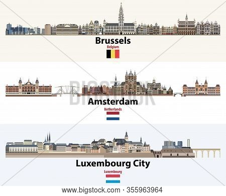 Skylines Illustrations Of Brussels, Amsterdam, Luxembourg City. Flags Of Benelux Countries: Belgium,