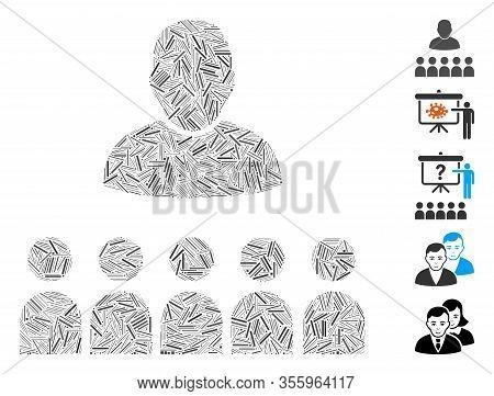 Hatch Mosaic Based On Auditory Students Icon. Mosaic Vector Auditory Students Is Composed With Rando