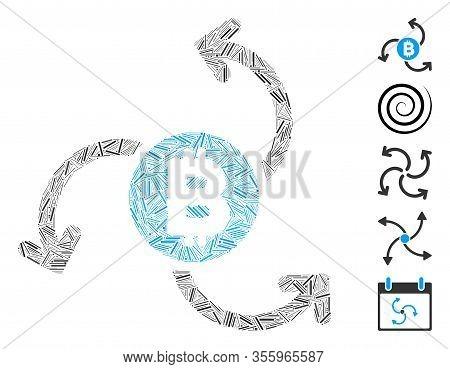 Line Mosaic Based On Bitcoin Source Swirl Icon. Mosaic Vector Bitcoin Source Swirl Is Composed With
