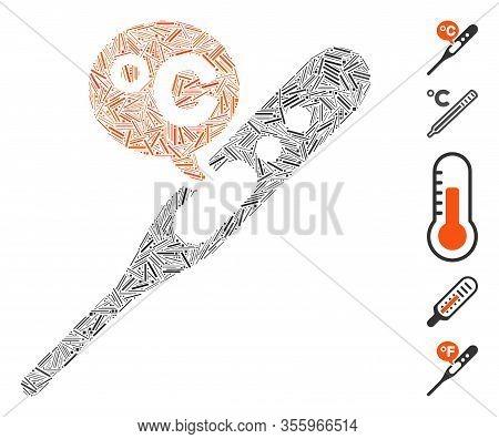 Dash Mosaic Based On Celsius Temperature Icon. Mosaic Vector Celsius Temperature Is Formed With Rand