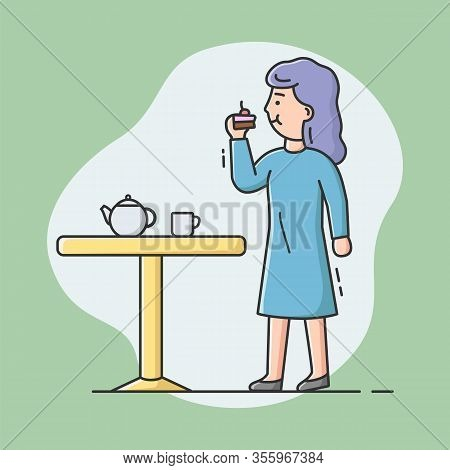 Cheat Meal And Healthy Lifestyle Concept. Young Pretty Woman Is Eating Cake And Drink Tea. Girl Is C