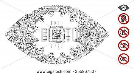 Dash Mosaic Based On Cyborg Eye Lens Icon. Mosaic Vector Cyborg Eye Lens Is Designed With Randomized