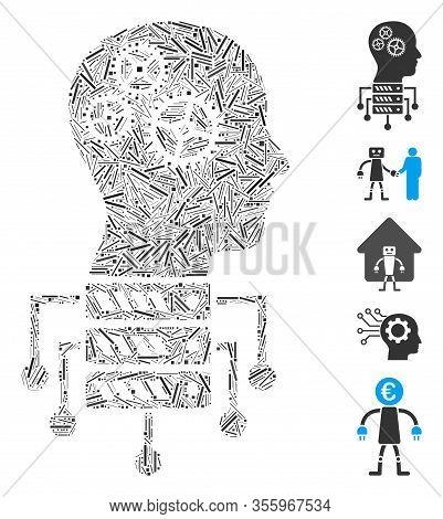 Line Mosaic Based On Cyborg Server Node Icon. Mosaic Vector Cyborg Server Node Is Composed With Rand