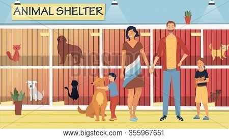 Concept Of Animal Shelter For Stray Pets. Kind People Help Homeless Animals. Family Adopting Dog And