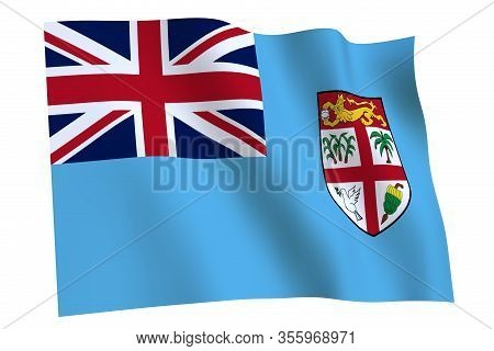 Fiji Flag, 3d Render. Flag Of Fiji Waving In The Wind, Isolated On White Background.