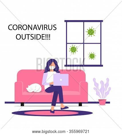 Work From Home During An Outbreak Of The Covid-19 Virus. People Work At Home To Prevent Virus Infect
