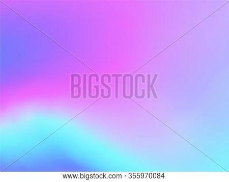 Blurred Hologram Texture Gradient Wallpaper. Digital Blue Purple Ultraviolet Background. Liquid Colo