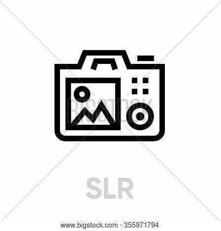 Slr Camera Icon. Simple Element Illustration. Editable Vector Outline