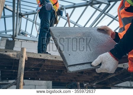 Engineers Worker Install New Roof At Construction Site,roofing Tools,cpac Roof Technician,constructi