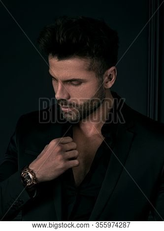 Man In Elegant Black Suit Posing