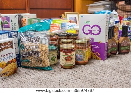 Morgantown, Wv - 16 March 2020: Selection Of Groceries For Home Store During Quarantine Due To Coron