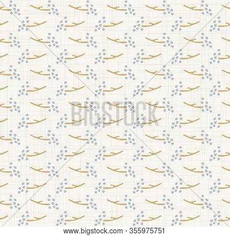 French Shabby Chic Tiny Seed Vector Stripe Background. Dainty Flower In Blue And Yellow Off White Se
